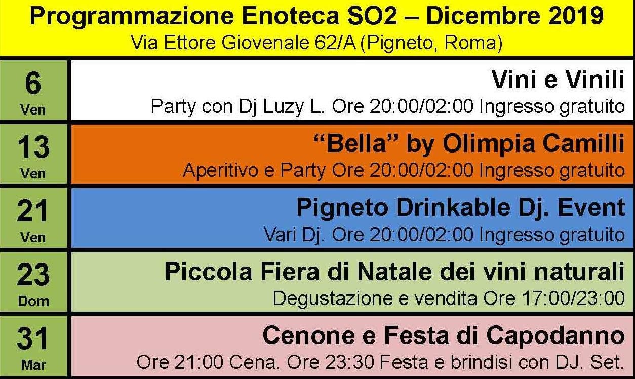 Programmazione eventi Enoteca SO2: dicembre 2019